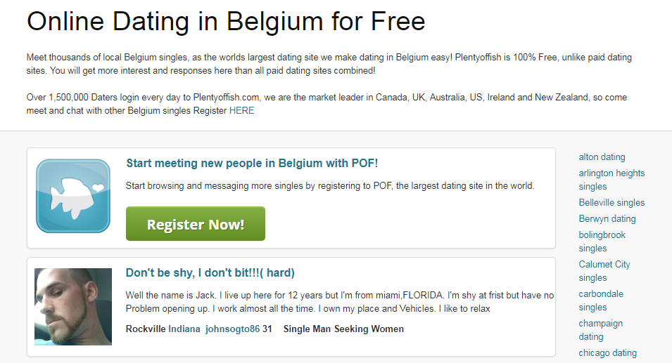 Plenty Of Fish Belgium Login And Sign Up