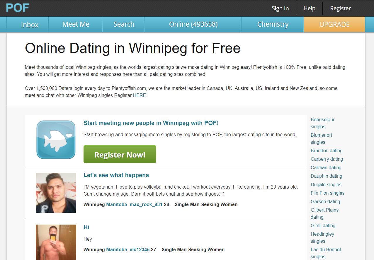 100% free online dating in winnipeg Ourtime 100% free online dating site view photos of singles in your area, see who's online now never pay for online dating, chat with singles here for free.