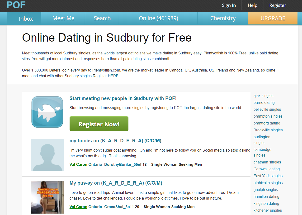 Plenty Of Fish Sudbury Login And Search