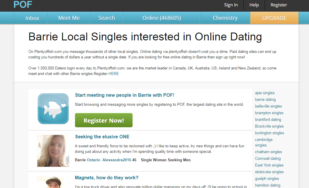 Plenty Of fish Barrie Login