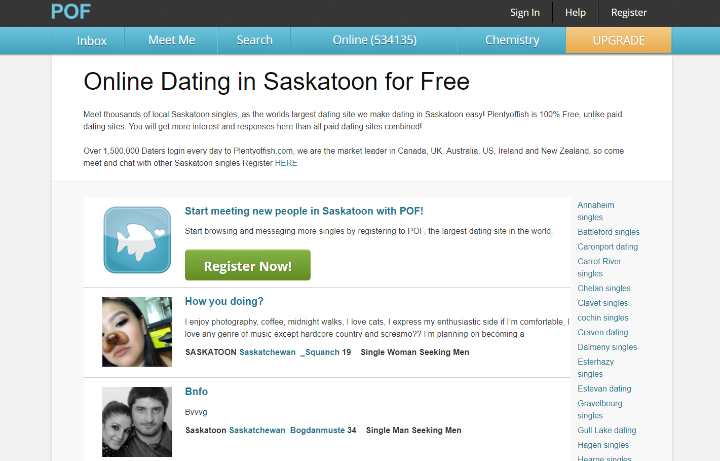 free dating in saskatoon Proofread the online dating profile there is no greater diversion than to find spelling errors in an online dating profile saskatoon singles a key to meet someone from the internet is to make sure you meet in a public place.