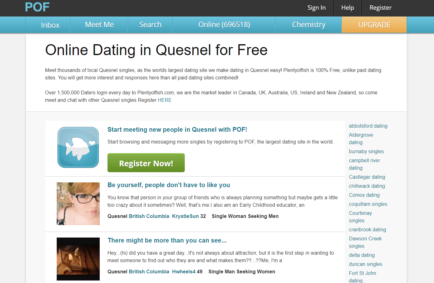 Pof dating site register